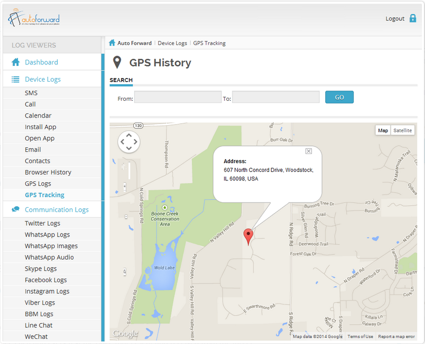 autoforward spy application dashboard preview which displays how gps tracking feature works