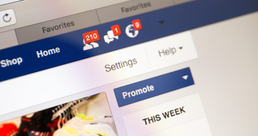 Facebook business page closeup with notifications of new customers like, new messages