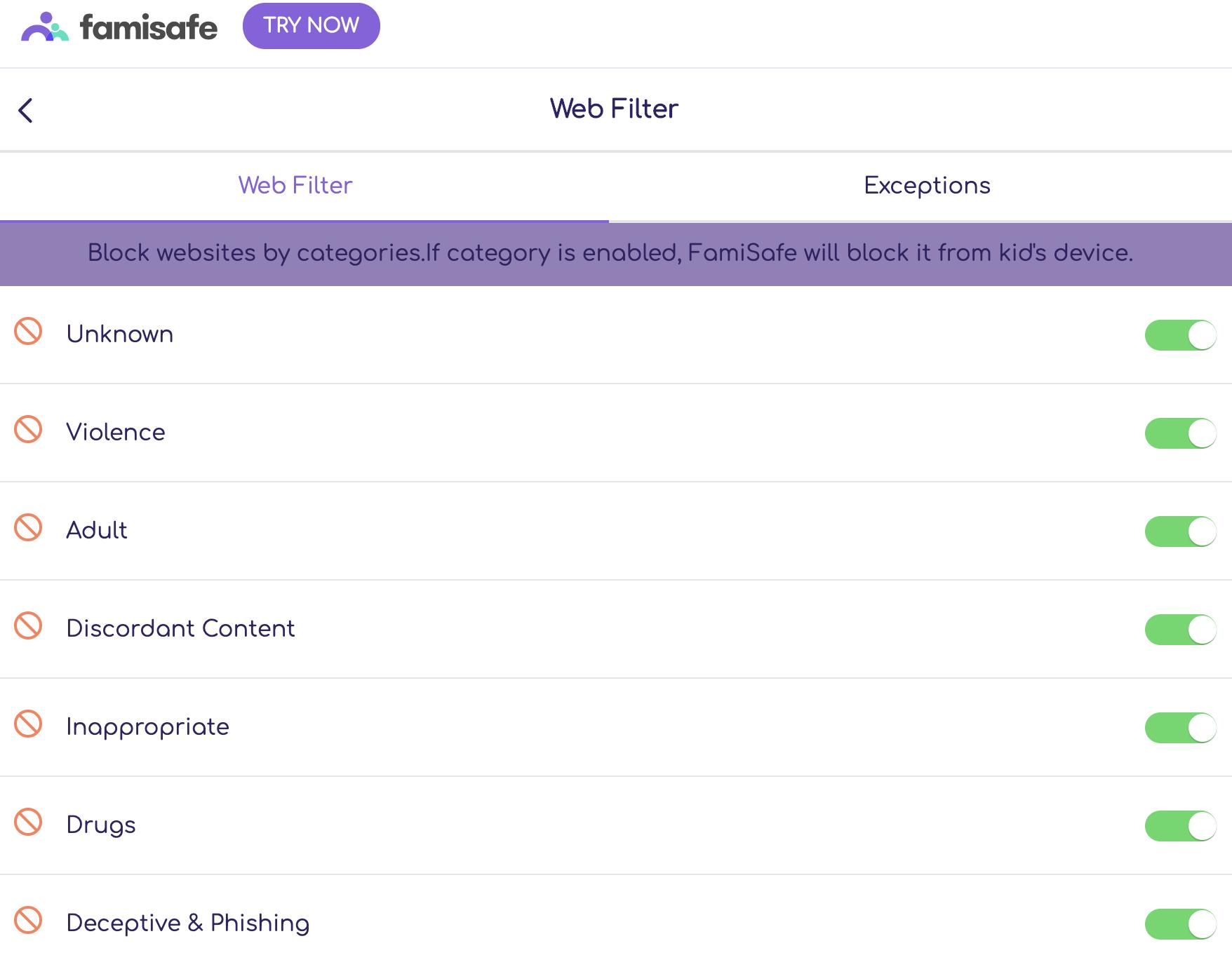 famisafe web filter blocked categories
