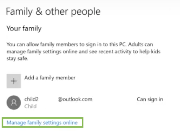 windows 10 manage family settings online