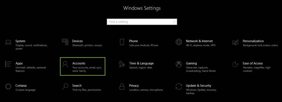 Windows 10 settings menu dark mode