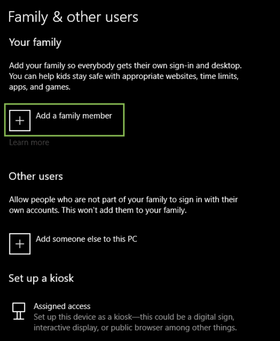 windows 10 settings ass a family member