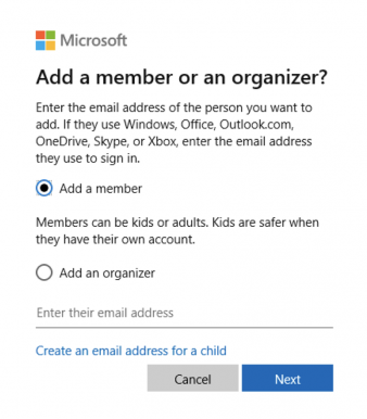 windows 10 add a family member option