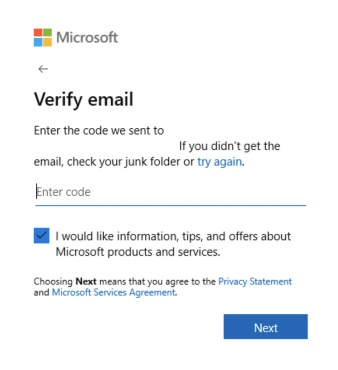 microsoft account sign in email verification window