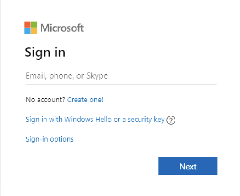 microsoft account sign in window