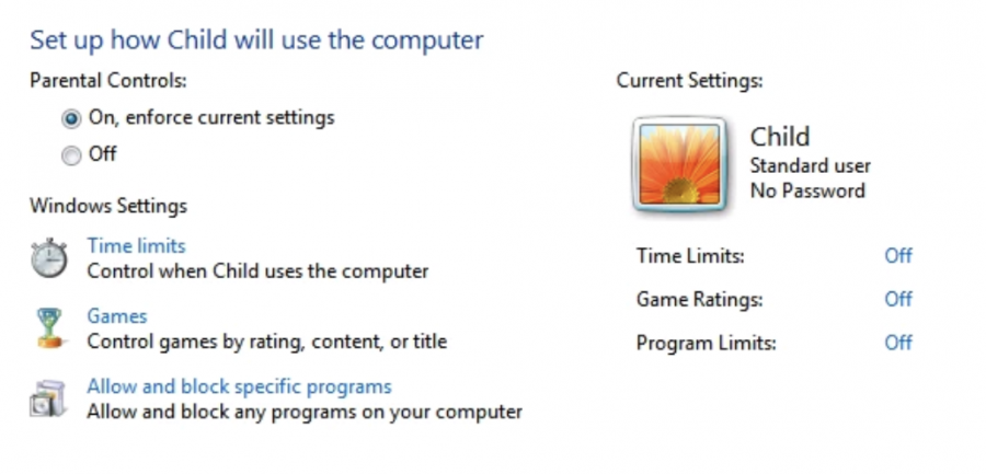windows 7 child's account setup