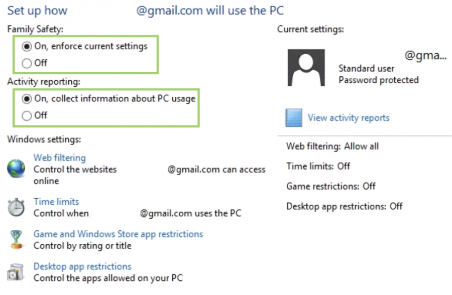 windows 8 parental control settings & restrictions