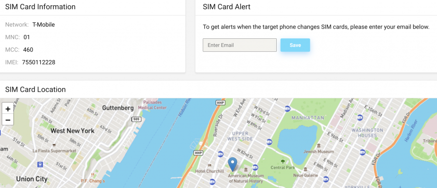 Cocospy control panel SIM card location