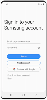 logging in to a samsung account